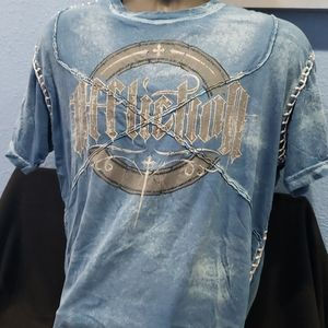 XL Mens Affliction Live Fast Distressed Tee
